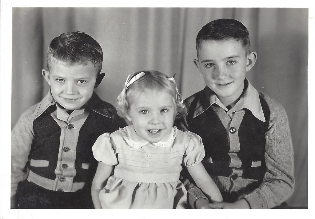 Left to Right: Buddy, Rosemary, and Luther Angell. Circa 1945