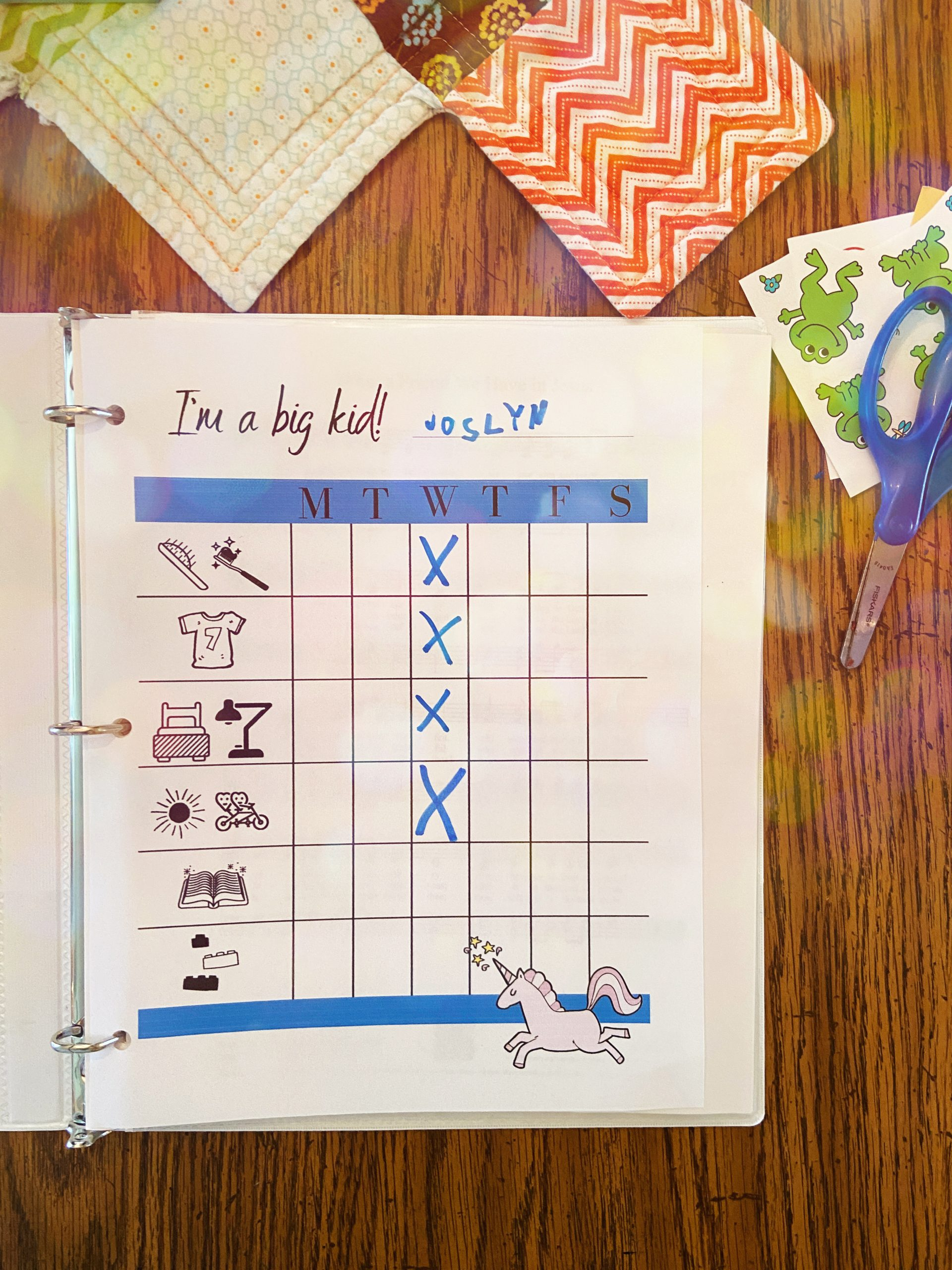 Morning Chores Chart for Pre-Readers